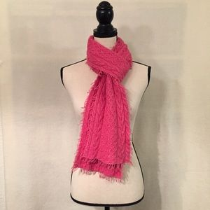 J. Jill pink cable knit fringe wool blend scarf